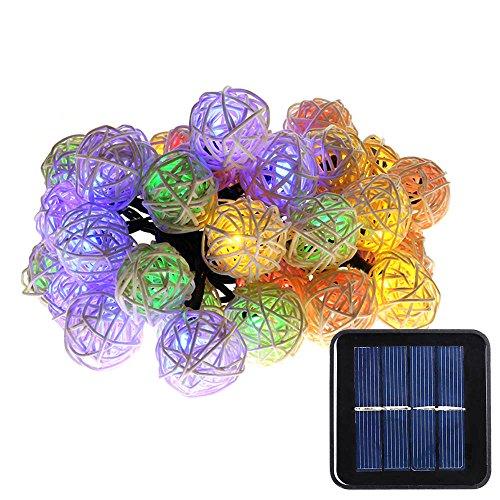 Luckled Solar String Lights 20ft 30 Led Multi Color Rattan Globe String Lights Decorative Lighting For Outdoor