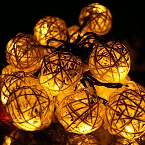 Nascco 20 Led Rattan Ball Warm White String Lights Solar Christmas Lights For Bedroom Wedding Garden Xmas Tree