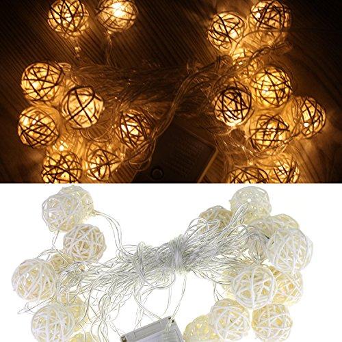 Uniqled 1525ft4m Wooden Rattan Sepak Takraw Ball 20 Led String Lights 8 Lighting Mode Ac 110v Us Plug For Christmas