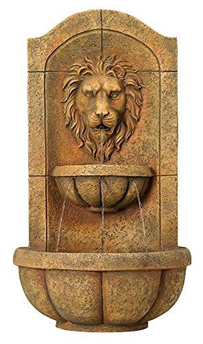 Lion Head Faux Stone Wall Fountain