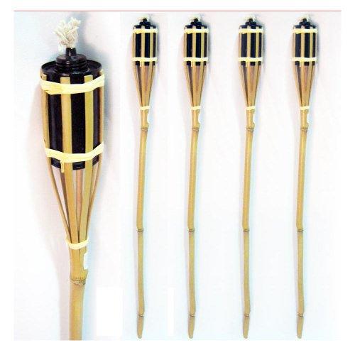 4 Bamboo Torch Tiki Tropical Decor Luau Party Garden Light Outdoor Lamp 3 Ft New