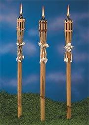 Bamboo And Seashell Tiki Torches Set Of 12