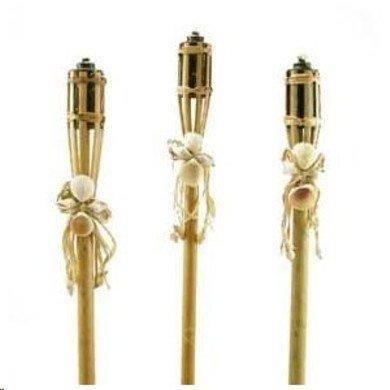 Lot Of 03 Oriental Bamboo  Sea Shell 32&quot Luau Tiki Torch Tights