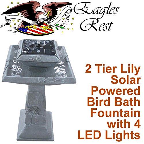 Monticello 2 Tier Lily Solar BirdBath and Fountain SBB005