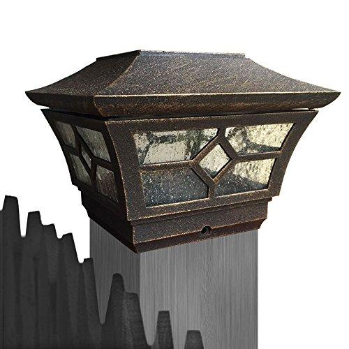 Cheekon 151024be Solar Powered Outdoor Gardens Fence Post Cap Led Lights cast Magnesium Alloyglassesbronze