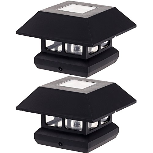 GreenLighting 4 x 4 Solar Powered LED Post Cap Light Black 2 Pack