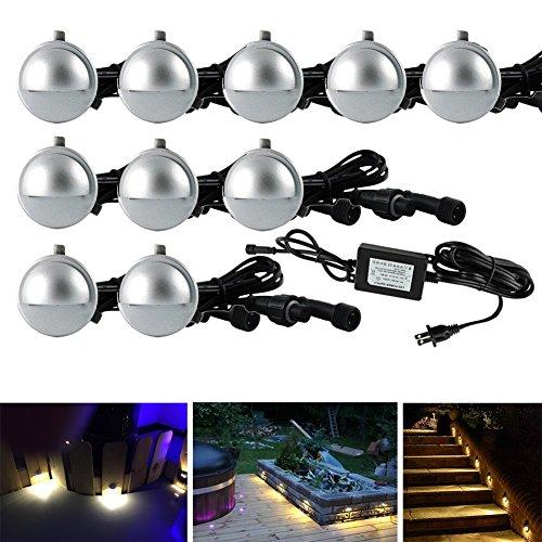 Fvtled 10 Pack Led Stair Lights Kit Low Voltage Waterproof Ip65 Outdoor Half Moon 1-25&quot Recessed Wood Deck Lighting