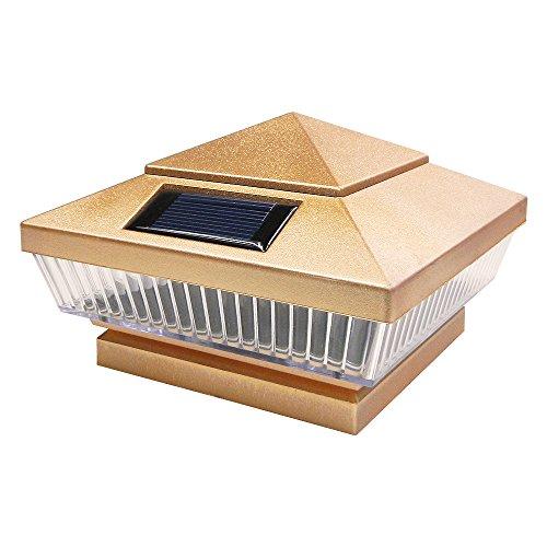 Iglow 1 Pack Copper Outdoor 4 X 4 Solar 5-led Post Deck Cap Square Fence Light Landscape Lamp Pvc Vinyl Wood Bronze