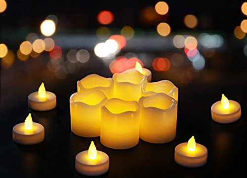 Flameless Candles Battery powered Unscented Real Wax Real Flickering Flameless LED Tea Light Candles for Wedding Parties - 12 pack - Homewill