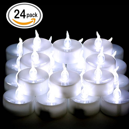 Omgai 24 Pcs Led Tea Lights Candles Battery-powered Small Bright Flickering Flameless Candles For Home Decoration