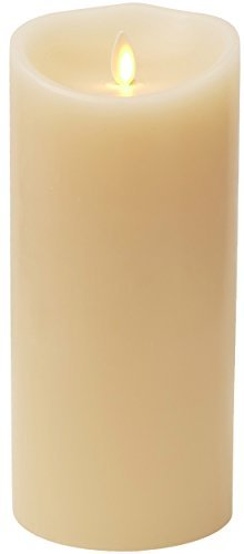 Darice Luminara Flameless Candle - Ivory Wax Unscented Classic Pillar - 9 in