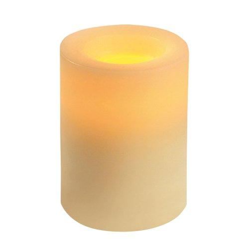 Inglow CG54400CR00 Flameless Round Wax Pillar Candle 4-Inch Tall Cream