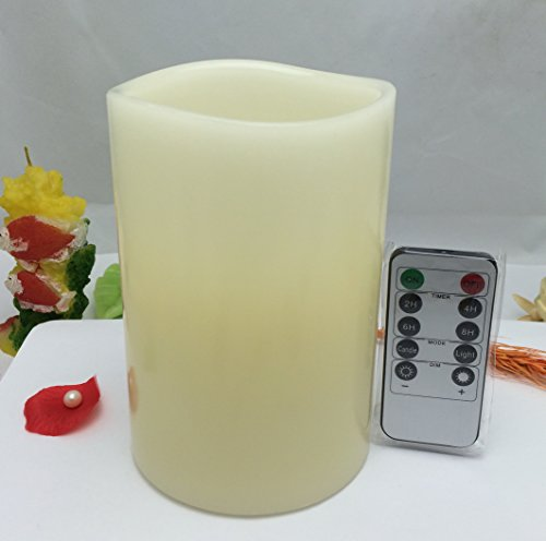 Real ivory wax led candles with timer10keys remote control pillar one piece set 4 by 6inch tall vanilla scent amber glowing flickerlight option-by Adoria