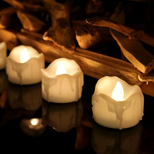 Youngerbaby 24pcs Warm White Flickering Timing Function Led Tea Light Candles with Decor Rose Petals Flameless