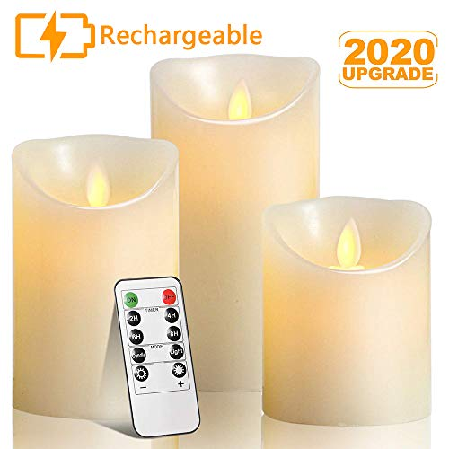 Autbye Rechargeable Flameless Candles LED Flickering Candles Tealights Pillar Candles Sets with Adjustable Brightness and Timing Remote 4in 5in 6in Pack of 3