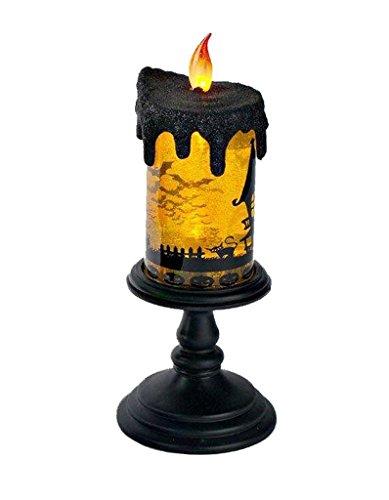 Lightahead Led Flameless Candle With Moving Patterns Halloween Led Lights Lantern Black Base With Orange Water