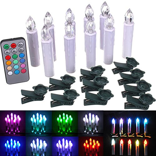 Fivebull Set Of 10 Multicolor Led Flameless Taper Candle Flickering Led Candles Tree Light With Remote Timer Function
