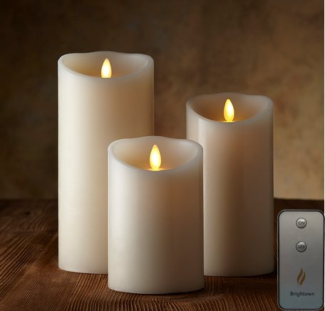 Remote Included Moving Flame Wick Lumina Candle Real Wax Pillar Candle With Timer Set Of 3 Sizes