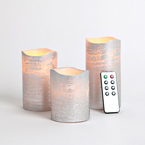 Set Of 3 Silver Wax Flameless Led Battery Candles With Timer And Remote