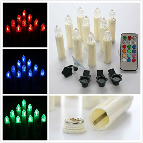 Xabl Set Of 10 Timer Function Multi 12 Colors Light Flameless Led Taper Candles For Christmas Holiday Decoration