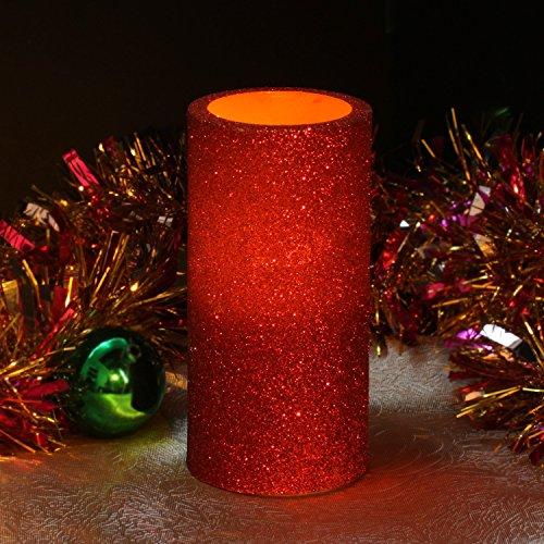Flameless Candles With Timer Pillar 3 x 6 Red Glitter