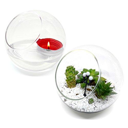 Best Quality  Glass Planter Terrarium Globe Candle Holder  Set of Two  3mm Thick Borosilicate Glass  51 Diameter