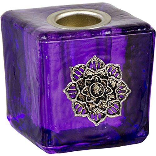 Kheops International - Mini Glass Candle Holder Lotus Purple 03562