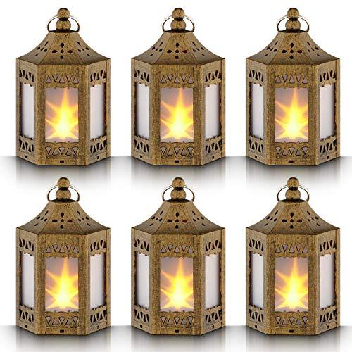 Mini Star Lantern with Flickering LEDBattery IncludedDecorative Hanging LanternChristmas Decorative LanternIndoor Candle LanternBattery Lantern Indoor UseZkeeSet of 6 Copper Brushed