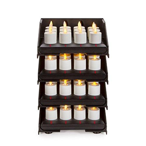 48pc Luminara Rechargeable Flameless Tea Lights w Charging Base 48 Rechargeable Tea Light Votive Candles Intelligent Charging Base Tower Sliding Trays Weddings Bridal Restaurants Receptions