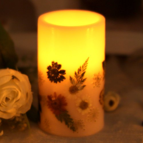 Dfl 35 Inch Red Flower Flameless Led Pillar Candle With Timerwork With 2 C Batteriesembossed Colorful Flower