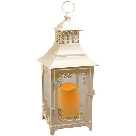 LumaBase Luminarias Metal Lantern with LED Candle White Swirl