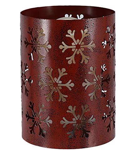 Mark Feldstein Snowflake Pillar Rosy Red 6 x 4 Iron Metal Christmas Flameless Candle Luminary
