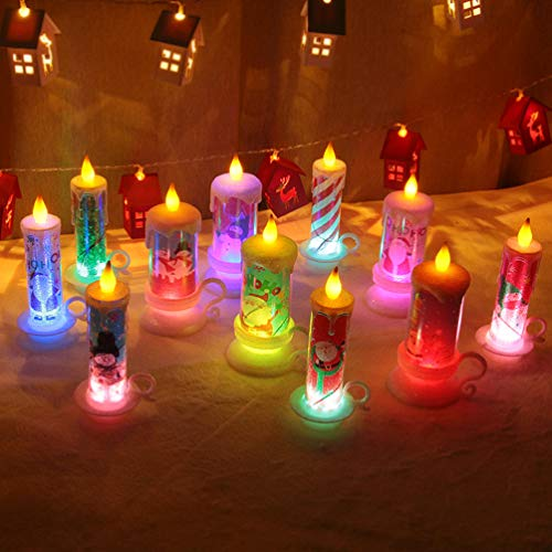 Uonlytech Christmas Flameless Candles Battery Operated Party Decorative Electric Candle Light Decor for Christmas Thanksgiving Festival Party Church Home