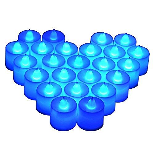 Parrot Uncle 24 Flameless Tea Lights - Blue Led Candles Free Decorative Rose Petals -flameless Votive Tealights