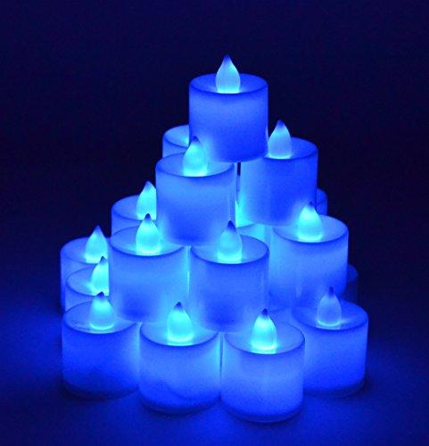 Samyo Set Of 24 Battery Flamelessamp Smokeless Led Tealight Candles - Blue Candlelight