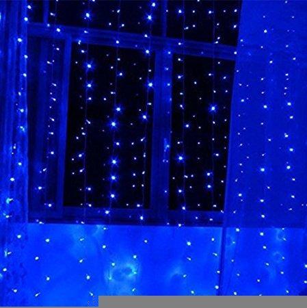 HongJing Window Curtain Light 3m3m 300led Christmas Light Icicle Lights Festival Curtain String Fairy Wedding Led Lights for Wedding Party Window Home Decorative Garden Decorative Blue