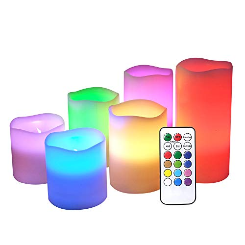 DRomance Flameless Color Changing Candles with Remote and Timer Real Wax LED Flickering Multi Color Candles for Romantic DecorationSet of 6 3 x 3-6 Inches
