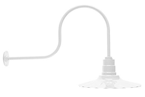 16 Inch Radial Wave Dome  Standard 23 Inch Gooseneck  Barn Light White