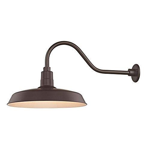 Bronze Gooseneck Barn Light with 18 Shade