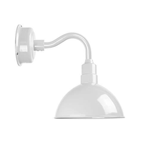 Cocoweb Blackspot Gooseneck Barn Light Fixture - 14 Shade White Finish 1600 Lumen LED Lighting IndoorOutdoor Installation - BBSW14WH-102W