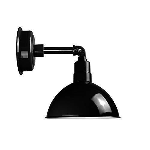 Cocoweb Blackspot Gooseneck Barn Light Fixture - 8 Shade Black Finish 1600 Lumen LED Lighting IndoorOutdoor Installation - BBSW8BK-103B