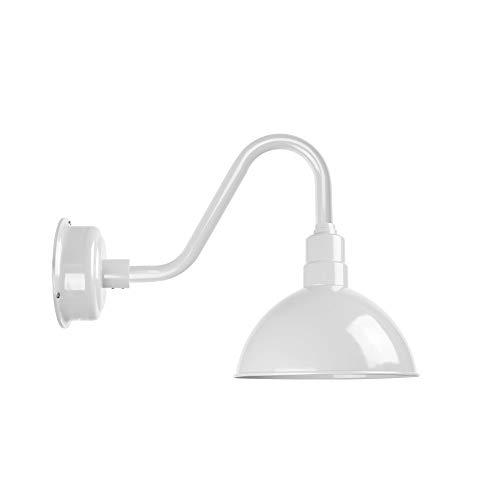 Cocoweb Blackspot Gooseneck Barn Light Fixture - 8 Shade White Finish 1600 Lumen LED Lighting IndoorOutdoor Installation - BBSW8WH-26W