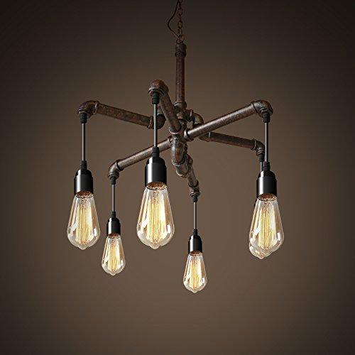 NATSEN Antique Chandelier Metal Hanging Light 6-Light for Dining Room Living Room Bedroom