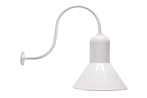 The Ark Deep Hood Industrial Steel Barn Light  Gooseneck Lighting  16 Inch Shade and Up Slope 23 Inch Gooseneck White
