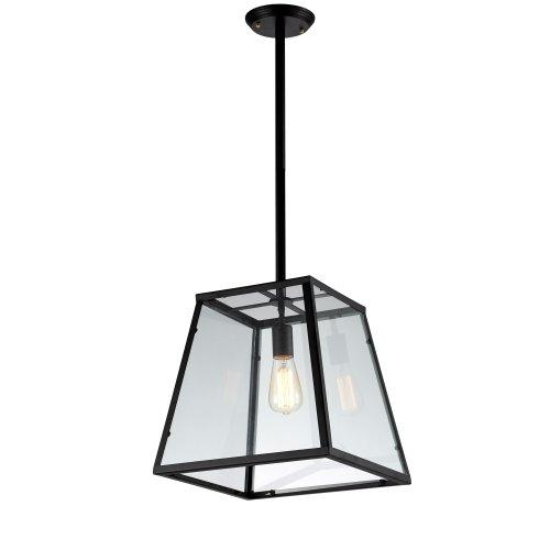 Ohr Lighting&reg Edison Vintage Large Glass Pendant Light Bulb Included Matte Blackglass ed271p