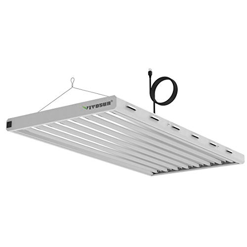 VIVOSUN 6500K 4FT T5 HO Fluorescent Grow Light Fixture for Indoor Plants UL Listed High Output Fluorescent Tubes 8 Lamps