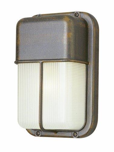 Trans Globe Lighting 41103 RT 10-Inch 1-Light Outdoor Bulkhead Rust Color Rust Model 41103 RT Outdoor Hardware Store