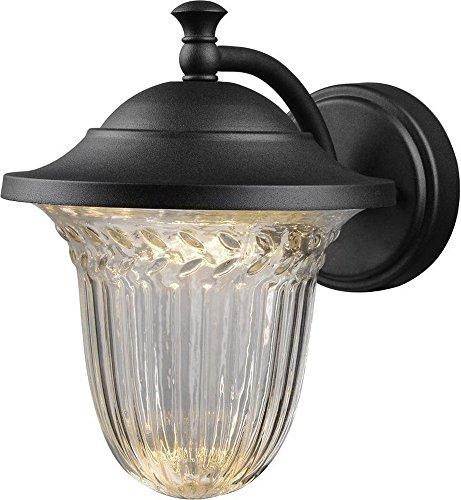 Hardware House 21-3677 Medium Black Lantern Wall Fixture with Crystalline Glass