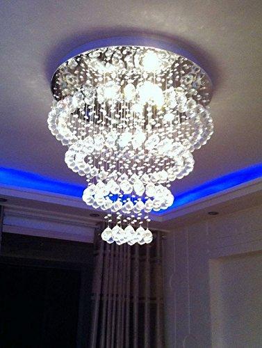 Siljoy Modern Contemporary Chandelier Lighting Rain Drop Clear Crystal Ball Fixture LED Ceiling Lamp D32 X H30