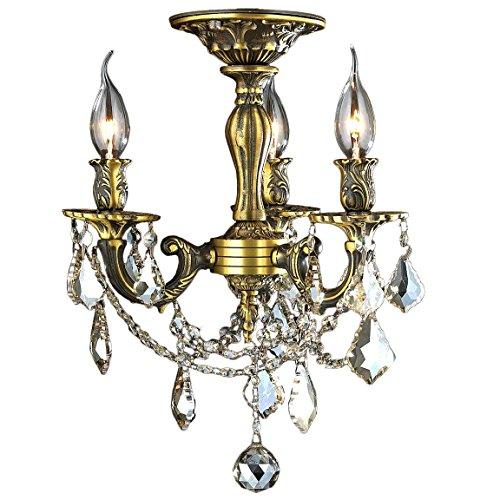 Worldwide Lighting W33302BP13-GT Windsor Collection 3 Light French Pedagogue Golden Teak Crystal Semi Flush Mount Ceiling Light 13 D x 14 H Medium Antique Bronze Finish